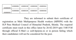 HPSSC Important Notice For Information to the Candidates Of the Post of MMPHW Post code -650