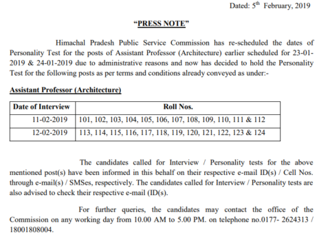 HPPSC Assistant Professor (Architecture )Interview 11-02-2019 to 12-02-2019