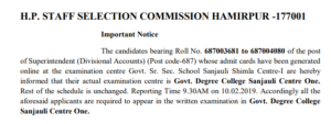 HPSSC Important notice for information to the candidates of the post of Superintendent (Div. Accounts). code-687