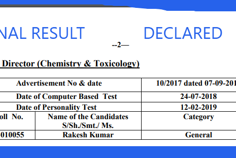HPPSC final Result of Law Officer-Lecturer (Civil Engineering)-Assistant Professor (Architecture)-Assistant Director (Chemistry & Toxicology) Personality Test Conducted On 11-02-2019 To 12-02-2019