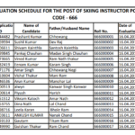 HPSSC HPSSSB Evaluation schedule for the post of skiing Instructor post-code-666 (New) Date: 03 Apr