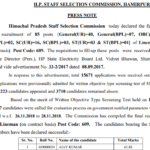 HPSSC Post Code 609 final result for the post of Lineman