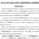 HPSSC Post Code 624 final result for the post of Steno Typist