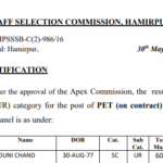 HPSSC waiting panel for the post of PET