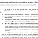 HPSSC POST CODE 735 Important notice for information of the candidates for the post of Laboratory Assistant