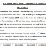 HPSSC/HPSSSB Post Code 664 result of Written Objective Type Screening Test for the recruitment Draughtsman