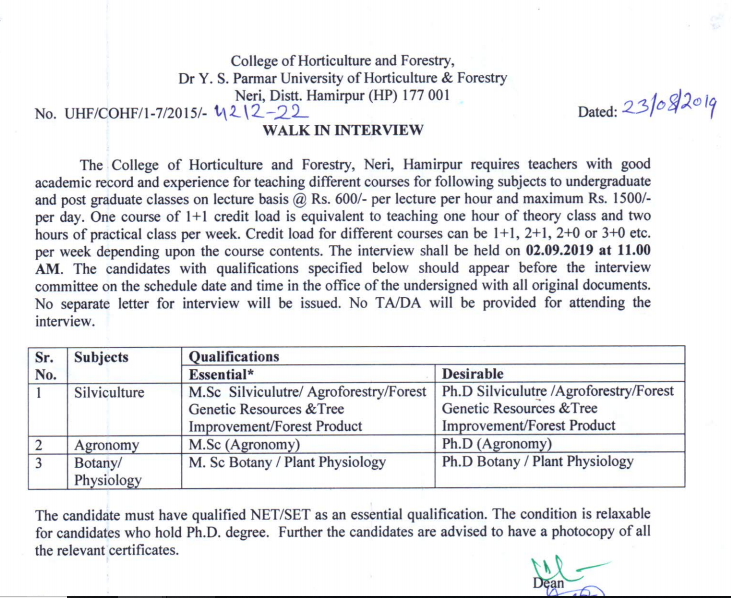 HP GOVT JOB ALERT Walk in Interview for teachers on lecture basis at COHF, Neri, Hamirpur