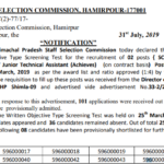 HPSSC Post Code 596 Junior Technical Assistant declared the result of Written Objective Type Screening Test
