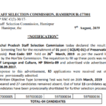 HPSSC Post Code 597 Result of written test for the post of Preservation Assistant