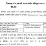 HPSSC Post Code 621,622,623 shorthand and typing skill test for various post codes Post Code 621,622,623