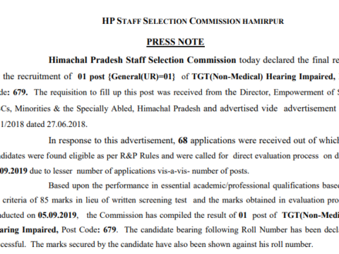 HPSSC final result for the post of TGT (Non-Medical) Hearing Impaired, Post Code: 679