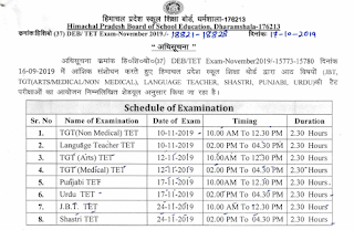 HPBOSE Notification Regarding Partially Modified Schedule of TET (TGT(Arts/Med/Non-Med),LT,Urdu,Punjabi,JBT,Shastri) November 2019