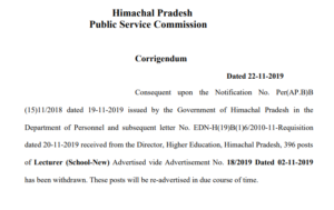 HPPSC 396 posts of Lecturer (School-New) Advertised vide Advertisement No. 18/2019 Dated 02-11-2019 has been withdrawn