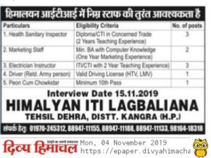 Recruitment of Driver Marketing Staff and Peon in Himachal Pradesh