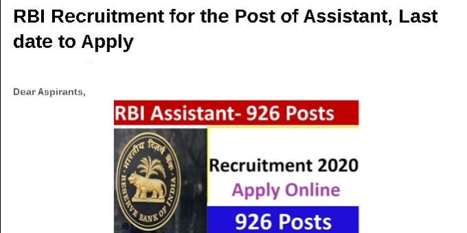 RBI Recruitment for the Post of Assistant, Last date to Apply