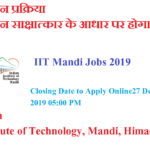 IIT Mandi Jobs 2019 Apply Online for Visting Instructor Post
