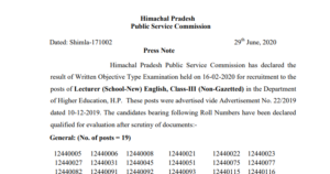 HPPSC Result of Screening Test for the Post of Lecturer 2020