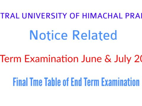 CENTRAL UNIVERSITY OF HIMACHAL PRADESH Notice Related to End Term Examination June & July 2020  Final Tme Table of End Term Examination