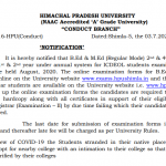 HPU B.Ed./M.Ed examination to be held in August, 2020