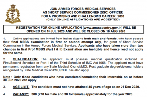 Indian Army Join Recruitment 2020 Apply Online for 300 SSC Officer Posts