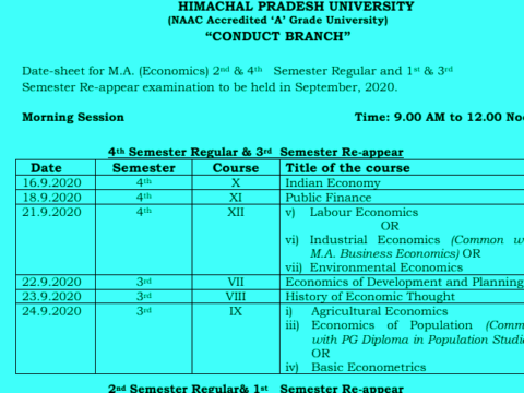 HPU Datesheet of M.A Economics, English, Hindi, Political Science, Public Administration, Sanskrit, Sociology, History ,M.A/M.Sc. Mathematics , M.Com examination to be held in September, 2020