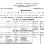 HPU Datesheet of B.A/B.Sc./B.Com. 2nd,4th & 6th Semester (Old Batch) paper which was earlier scheduled on 18.08.2020 and postponed