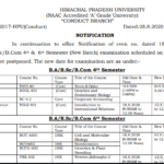 HPU Datesheet of B.A/B.Sc./B.Com. 2nd, 4th and 6th Semester (New Batch) paper which was earlier scheduled on 18.08.2020 and postponed
