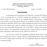 HPU Notification regarding submission of examination forms of M.A/M.Sc. Mathematics special chance for completion of degree.