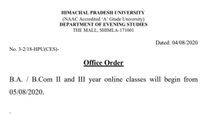 HPU Office Order Regarding Commencement of Online Classes