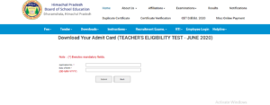 HP TET Admit Card Download August 2020