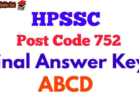 HPSSC LABORATORY ASSISTANT Post Code - 752 Final Answer Key