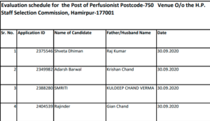 HPSSC Evaluation schedule for the post of Perfusionist (Post code-750) (New)