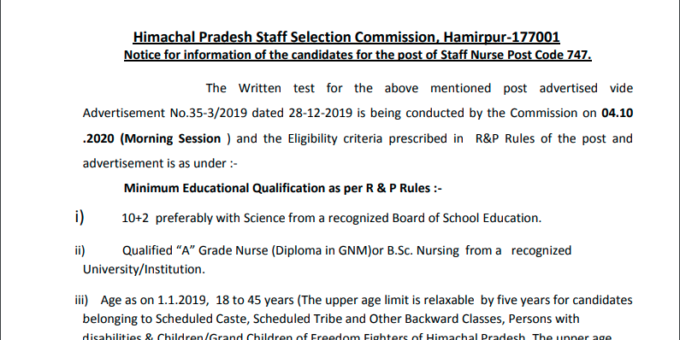 HPSSC Notification candidates for the post of Staff Nurse Post Code 747. (New)
