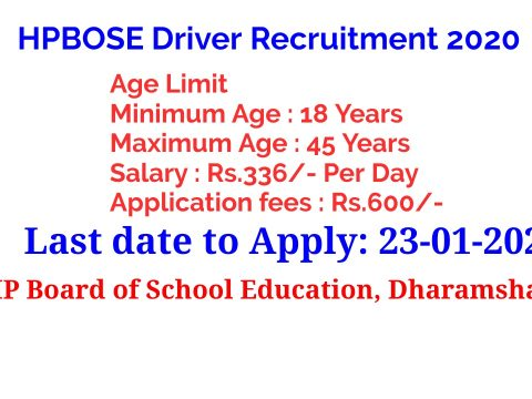 HPBOSE Driver Recruitment 2020 Last date to Apply: 23-01-2021