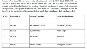 HPSSC Notification candidates for the post of Milk Procurement Assistant (Post Code-810)