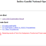 IGNOU declares Term End Result and Grade Card for June 2020