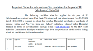 HPSSC candidates for the post of JE (Mechanical) Code-796 (New) UPDATE
