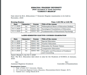 HPU Datesheet of M.A Education 1st Semester only for the Students of ICDEOL of January, 2020 examination to be held in November, 2020