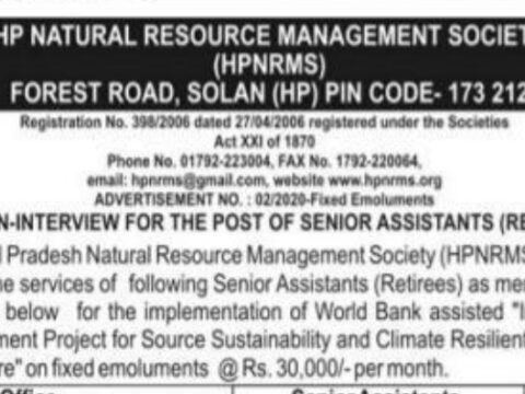 RECRUITMENT IN HP NATURAL RESOURCE MANAGEMENT, APPLY