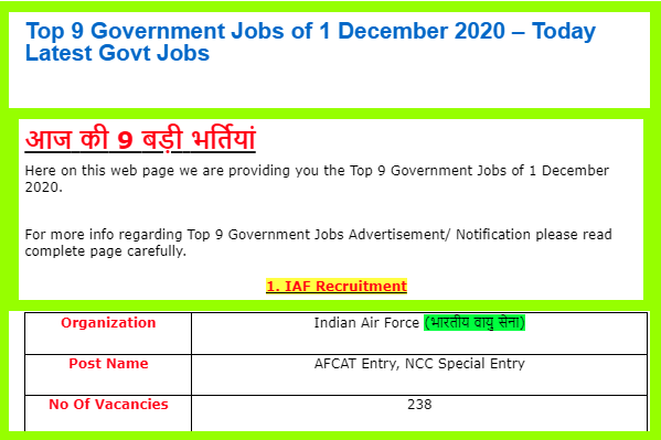 Top 9 Government Jobs of 1 December 2020 – Today Latest Govt Jobs