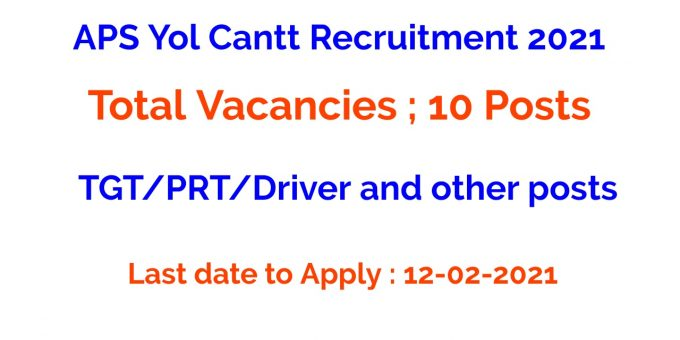 APS Yol Cantt Recruitment 2021