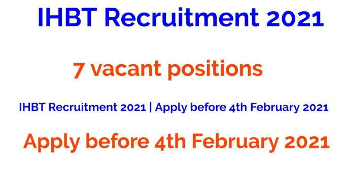 IHBT Recruitment 2021