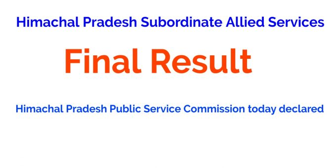 HPPSC Allied Subordinate Services Final Result 2021