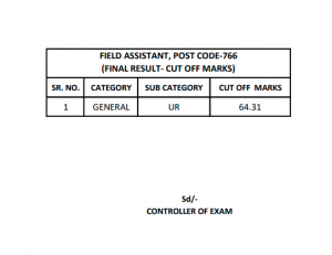 HPSSC Final Result Post Code 766 | Field Assistant