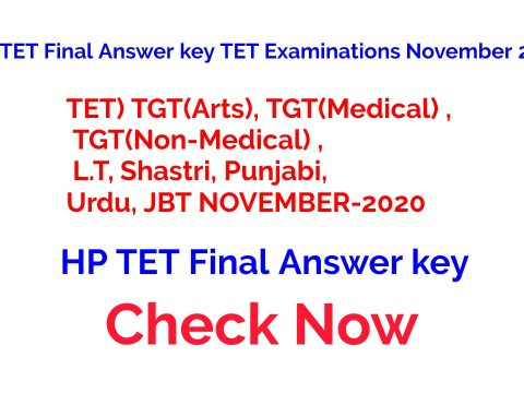 HP TET Final Answer key TET Examinations November 2020