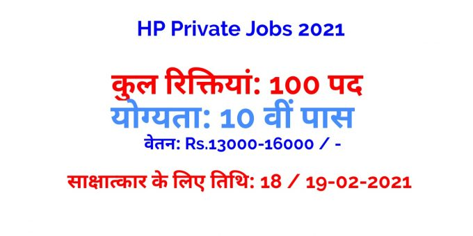 HP Private Jobs 2021