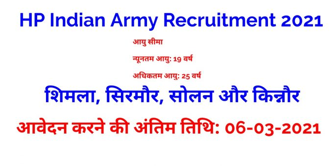 HP Indian Army Recruitment 2021