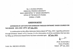 HPU Notification regarding extend of last date for submission of examination form of Post Graduate courses