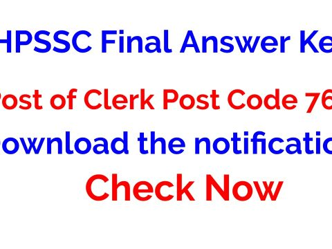 HPSSC Final Answer Key for the Post of Clerk Post Code 763