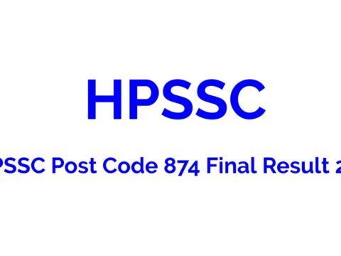 HPSSC Post Code 874 Final Result 2021